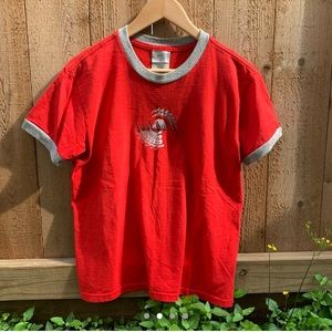 Y2K Nike Just Do It Red Tribal Ringer T Shirt
